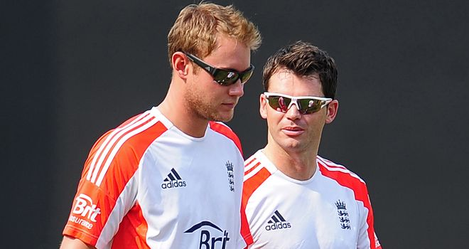 Stuard Broad (left): Has a chance of playing at Edgbaston but Jimmy Anderson is rested