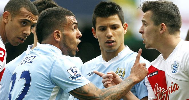 Joey Barton and Carlos Tevez: The pair clashed on the final day of the Premier League season