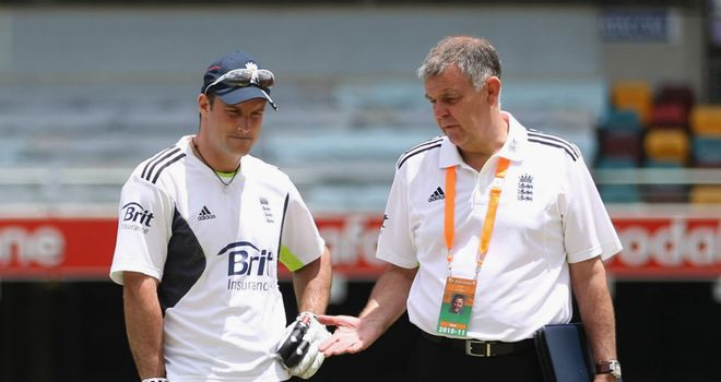 Geoff Miller (right) with former England skipper Andrew Strauss