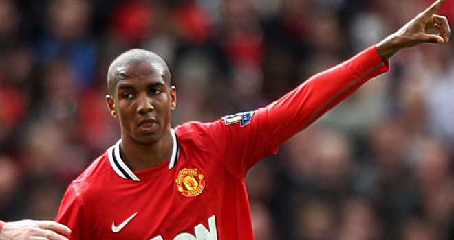 Ashley Young celebrates afters coring Manchester United's second goal