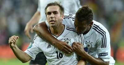 Lahm: Celebrates his goal with Boateng