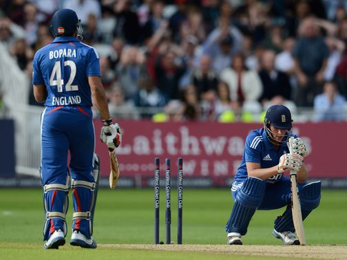 Alex Hales reacts after being dismissed for 99.