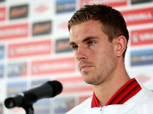 Jordan Henderson faces the press on Wednesday.