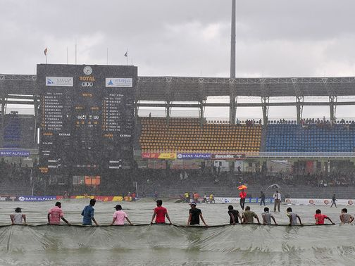 A gloomy scene in Colombo as the match was abandoned