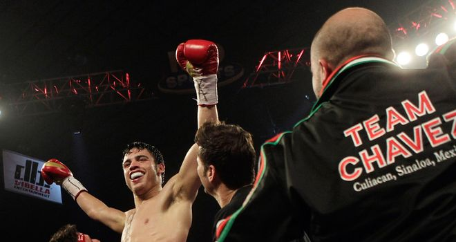 Victorious: Chavez stopped Lee - despite controversially being behind on the score cards