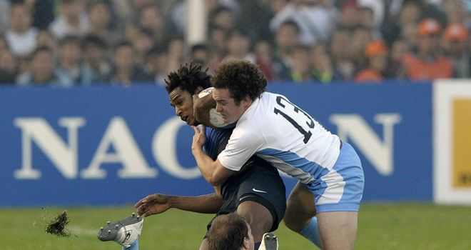 Benjamin Fall (dark shirt) in action for France in Argentina this summer
