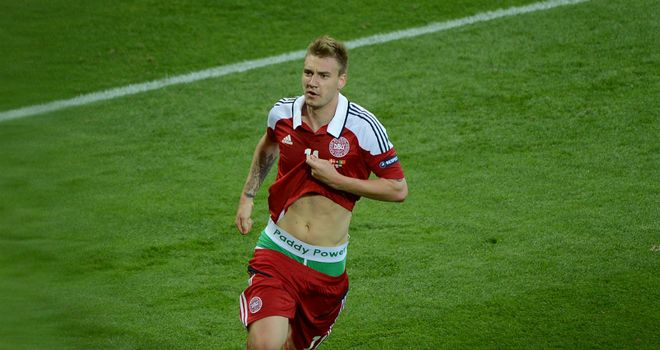 Nicklas Bendtner: Celebration during 3-2 defeat to Portugal has caused controversy