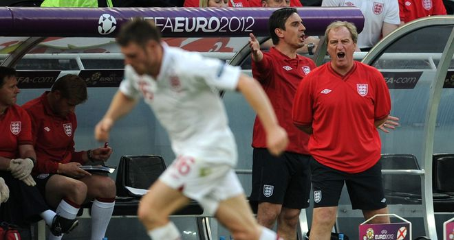 Neville: has struggled to stay in his seat in the dugout