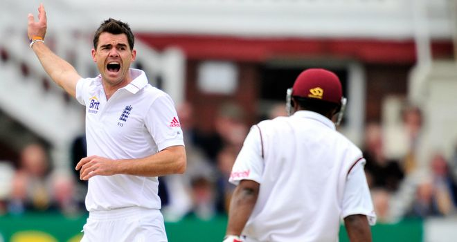 Rested: James Anderson appeals unsuccessfully for Adrian Barath's wicket at Lord's