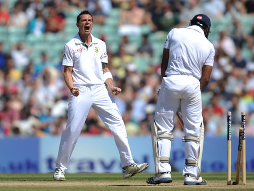 Dale Steyn celebrates cleaning up Ravi Bopara