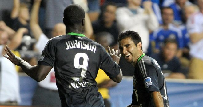 Eddie Johnson celebrates after his dramatic late winner against Chelsea