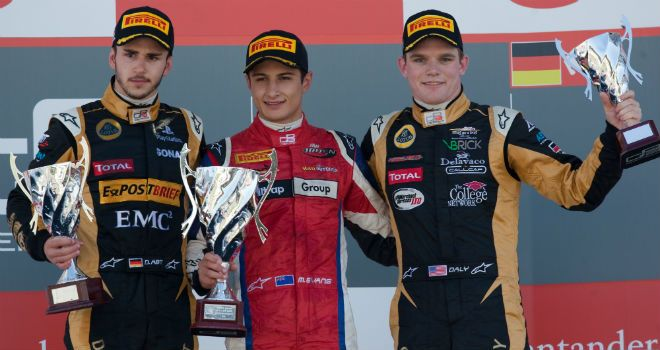 The race 2 podium (Image: GP3 Series Media)