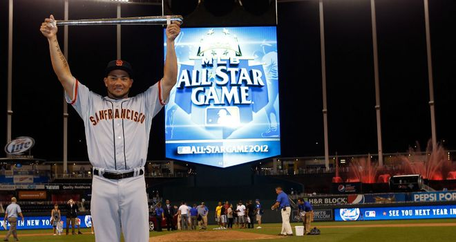 Melky Cabrera: Celebrates his Most Valuable Player award