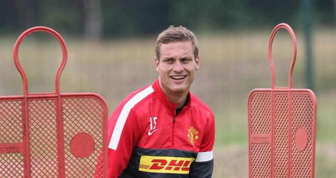 Nemanja Vidic: The Manchester United skipper is back in training after having knee surgery in December 2011