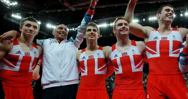 Team GB celebrate after winning their first men's team medal for 100 years
