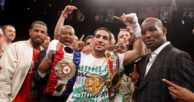 Danny Garcia celebrates victory over Amir Khan