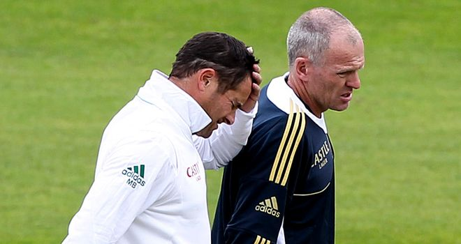 Treatment: Mark Boucher was hit in the face on day one at Taunton