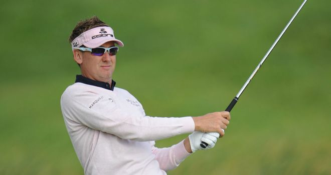 Ian Poulter in action during the second round of the French Open at Le Golf National