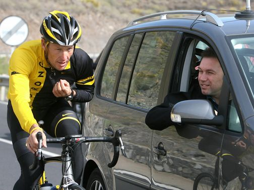 Johan Bruyneel (right) pictured with Lance Armstrong