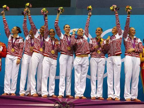 Russia celebrate their gold medal