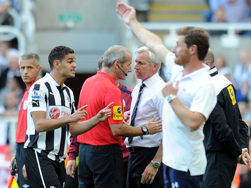 Alan Pardew: Pushed the linesman in Newcastle's match with Spurs