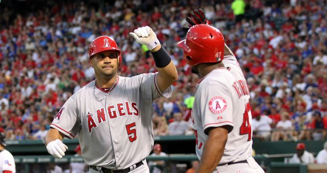 Albert Pujols: Hits two homers as the Angels secured a 6-2 win over Texas