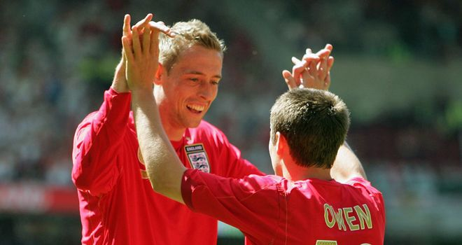 Michael Owen: On England duty with Peter Crouch