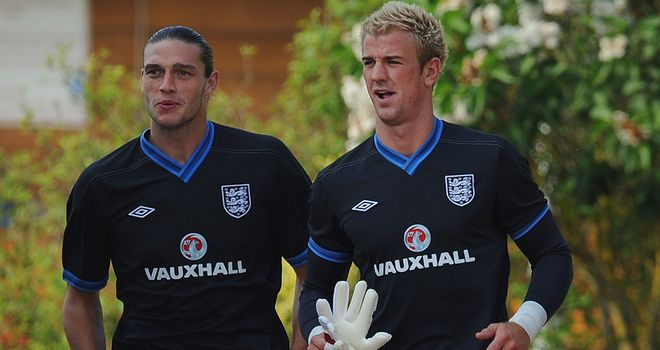 Joe Hart and Andy Carroll: England team-mates will be on opposite sides at Anfield