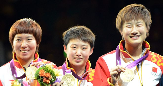 Li, Guao and Ding celebrate with their gold medals