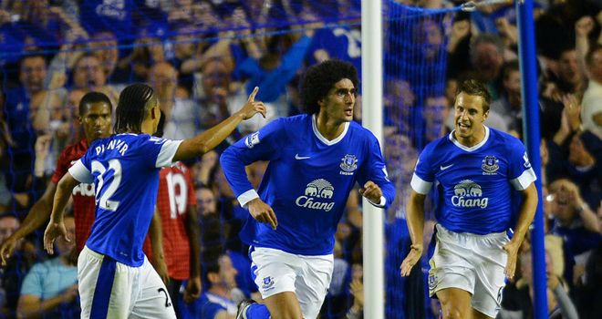 Marouane Fellaini: Everton attacker puts in a dominant display against Manchester United