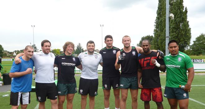 Training partners: Sass and Manuwa traded tips with the Exiles