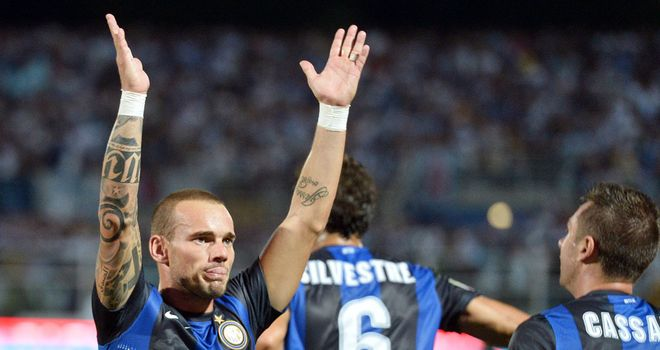 Wesley Sneijder: Is currently forzen out at Inter after reportedly refusing to take a pay cut