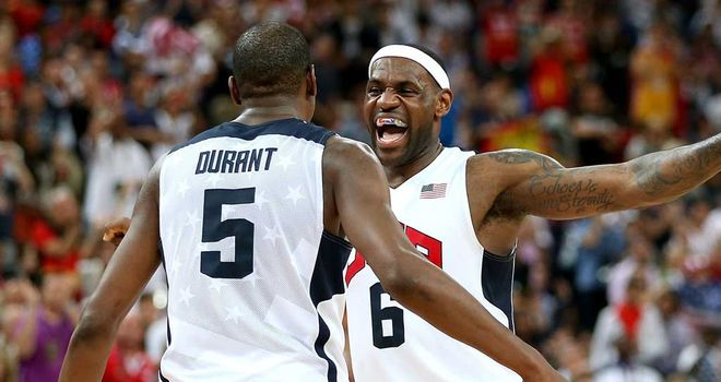 Gold winners: Durant and James celebrate