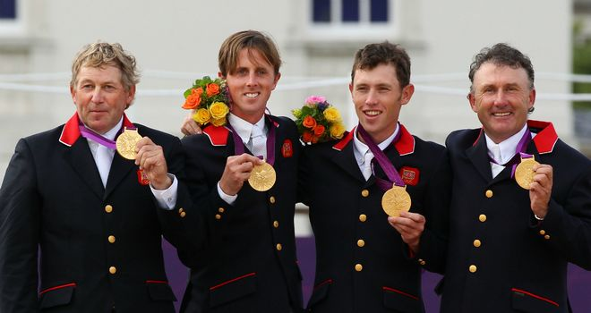Golden quartet: Nick Skelton, Ben Maher, Scott Brash and Peter Charles gave Britain its first Olympic showjumping gold medal for 60 years