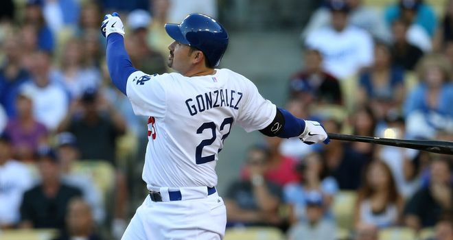 Adrian Gonzalez: made an instant impression for his new side, hitting a three-run homer