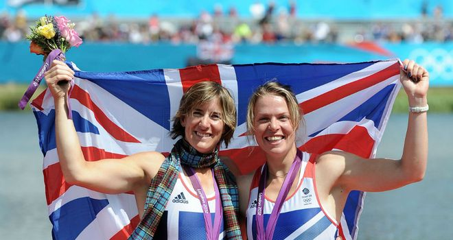 Katherine Grainger (L) and Anna Watkins (R) celebrate after collecting their gold medals
