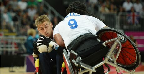 Steve Brown: taking the hit in wheelchair rugby!