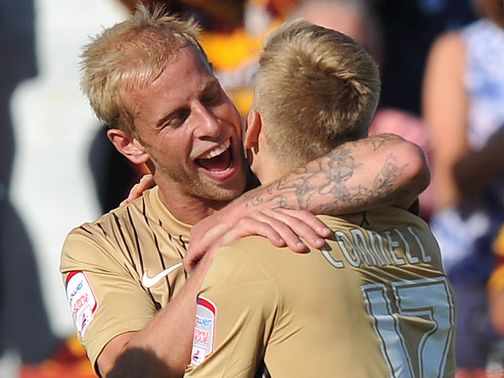 Bradford celebrate Alan Connell's equaliser at Accrington.