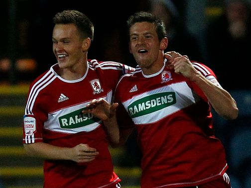Lukas Jutkiewicz (right) celebrates his goal