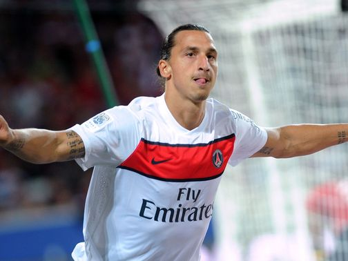 Zlatan Ibrahimovic celebrates for PSG