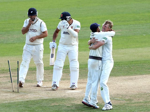 Yorkshire celebrate their win at Essex