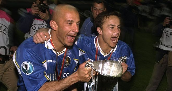 Gianluca Vialli and Dennis Wise lift the European trophy that started it all off back in 1998