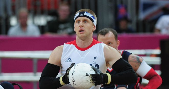 Aaron Phipps in action for Great Britain's Wheelchair Rugby team