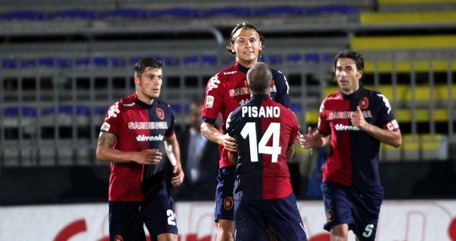 Cagliari celebrate Albin Ekdal's goal