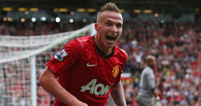 Alexander Buttner: Celebrates scoring Manchester United&#39;s third goal against Wigan