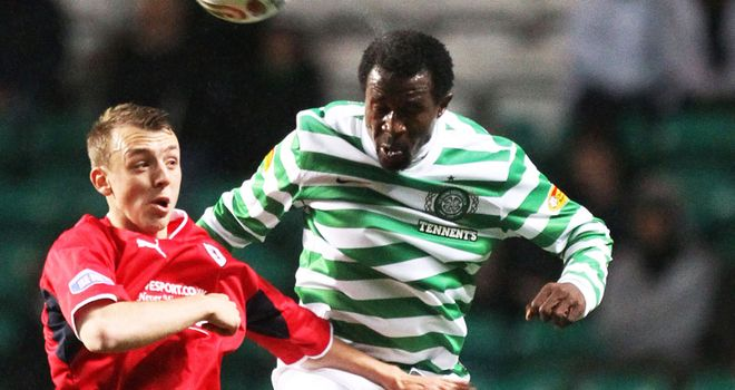 Efe Ambrose: made his full debut for Celtic in Tuesday night's 4-1 win over Raith Rovers in the Scottish Communities League Cup