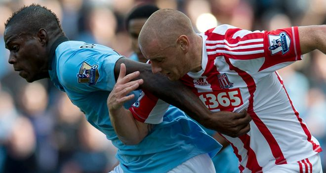 Andy Wilkinson: Alleged to have elbowed Mario Balotelli during Stoke's draw with Man City