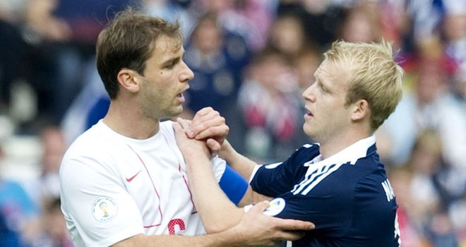 Branislav Ivanovic: The Serbia captain was involved in a tough game against Scotland