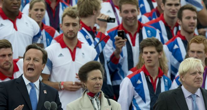 David Cameron: Gives a speech at the athletes parade in London
