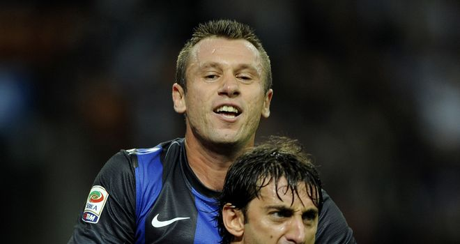 Diego Milito celebrates his goal from the spot